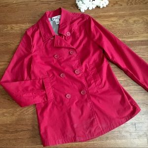 Oleg Cassini red trench pea coat S classic women's